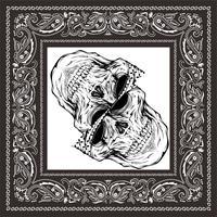 crâne de bandana noir blanc vecteur