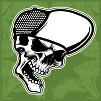 tête de crâne portant casquette main dessin vectoriel