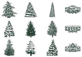 Vector d'arbre hivernal et pack vecteur de bougie