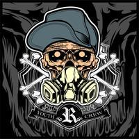 crâne portant vecteur de chapeau et masque à gaz