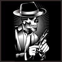 Squelette gangster avec revolvers en costume. Illustration vectorielle