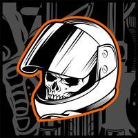 main de crâne casque dessin vectoriel