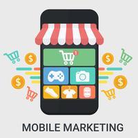 Marketing mobile dans un design plat vecteur