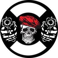 armée de crâne avec dessin vectoriel pistolet