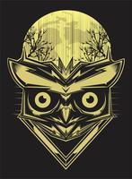hibou sur fond de silhouette de forêt et de la lune. dessin de main de vecteur