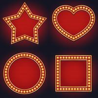 Ensemble d'ampoule de chapiteau signe lumineux rougeoyant style vintage