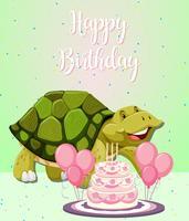 Carte d'anniversaire tortue et gâteau vecteur