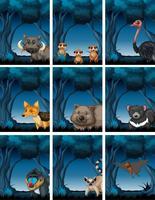 Ensemble d'animaux dans la nature