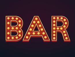 Bar bannière alphabet signe chapiteau vintage ampoule vecteur