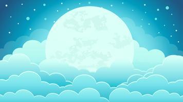 Coloré du fond de ciel de nuit avec nuages et clair de lune vecteur