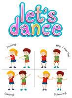 Enfants avec différents mouvements de danse