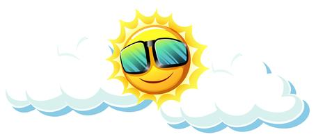 Soleil amusant avec des lunettes de soleil vecteur