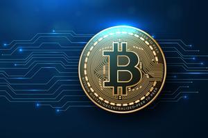 Fond réaliste de Bitcoin vecteur