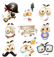 Ensemble d'expressions faciales vecteur
