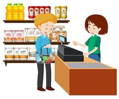 Un glossaire homme shopping vecteur