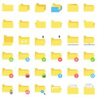 Fichier et dossier vector icon set, style plat