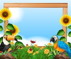 Oiseaux sur cadre en bois nature