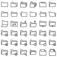 Fichier et dossier vector icon set, style de ligne