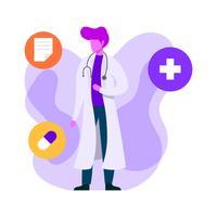 Médecin à plat dans les caractères de soins de santé vecteur