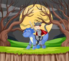 Chevalier et dragon en forêt vecteur