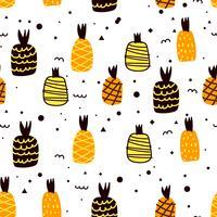 Modèle sans couture avec fond d'ananas. Illustrations vectorielles pour la conception d'emballages cadeaux.