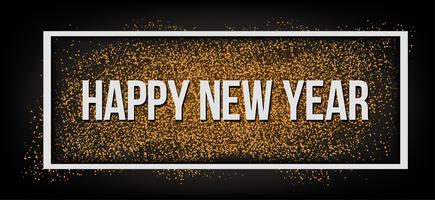 Bonne année. Paillettes d'or. vecteur