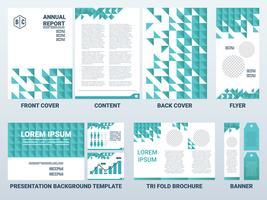 Couverture de feuille A4 et modèle de présentation sur le thème vert