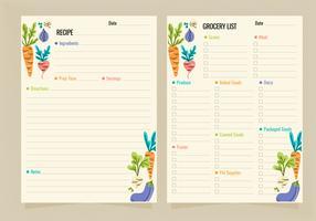 Modèles de recette de vecteur et liste d'épicerie