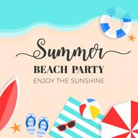 Heure d'été, illustration vectorielle de fond été plage