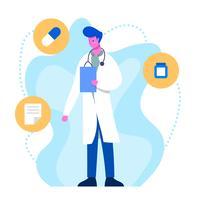 Caractère plat de docteur de soins de santé vecteur