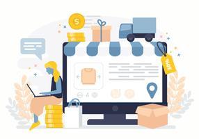 Illustration de boutique en ligne de vecteur