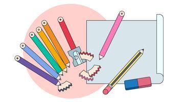Vecteur de crayons de couleur