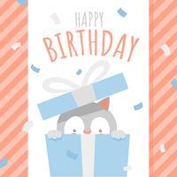 Joyeux anniversaire, animal, boîte surprise, voeux vecteur