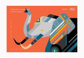 Illustration vectorielle d'éléphant géométrique abstrait modèle affiche vecteur