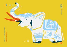 Illustration vectorielle d'affiche de festival d'éléphant peinte vecteur