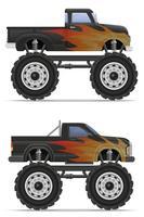 illustration vectorielle de monstre camion voiture pickup