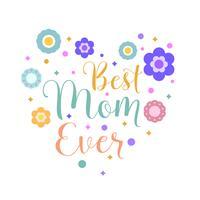 Illustration vectorielle de maman plate typographie