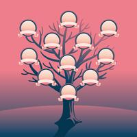Vecteur de modèle de cadre arbre généalogique simple