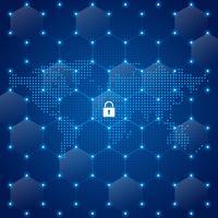 Illustration vectorielle de réseau mondial sécurité carte mondiale vecteur