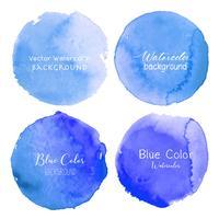 Cercle aquarelle bleu sur fond blanc. Illustration vectorielle