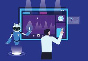 Professeur bâtiment robot avec illustration vectorielle d'intelligence artificielle vecteur