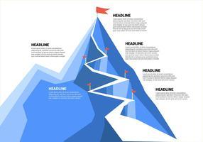 Objectifs d'entreprise avec montagne et drapeaux vecteur