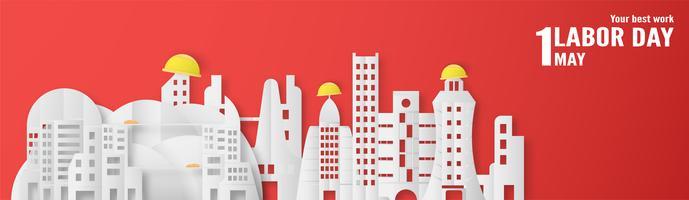Bonne fête du travail le 1er mai des années. Modèle de conception pour bannière, affiche, couverture, publicité, site Web. Illustration vectorielle en papier coupé et style artisanal sur fond rouge.