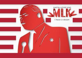 Thaïlande, Udonthani - 16 janvier 2019: Joyeuse Journée Martin Luther King Jr. avec du papier découpé et un style artisanal. Illustration vectorielle pour le fond, bannière, affiche, publicité, carte d'invitation et modèle. vecteur