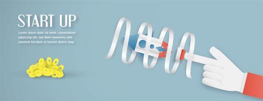 Illustration vectorielle avec concept de démarrage en papier découpé, style artisanal et origami. Fusée sur le ciel.