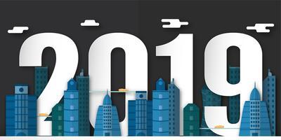 Bonne année 2019 décoration de nuit avec la ville urbaine. Illustration vectorielle en papier découpé et artisanat numérique avec style minimalisme. vecteur