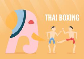 Création des personnages des gens de boxe thaï avec éléphant isolé sur fond orange. Illustration vectorielle au design plat pour affiche, voyageant avec la lumière.