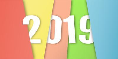 Bonne année 2019 au concept de design matériel sur fond coloré. Illustration vectorielle en papier découpé et artisanat numérique. vecteur