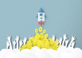 Illustration vectorielle avec concept de démarrage en papier découpé, style artisanal et origami. La fusée vole sur le ciel bleu. Modèle de conception pour la bannière web, affiche, couverture, publicité. Artisanat 3D pour les enfants. vecteur