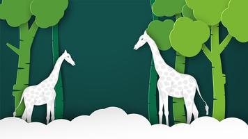 Animaux de la faune avec concept de manipulation. Minimalisme daigner le papier découpé et style artisanal. Art digitalcraft pour la journée mondiale de l'environnement. vecteur